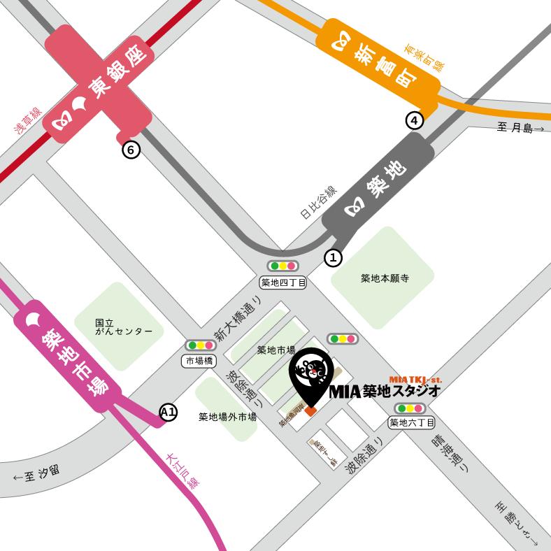 MIA築地スタジオ周辺地図